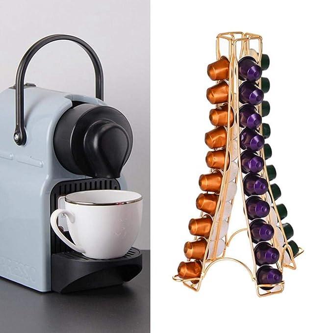 en Forma de Torre Volwco Soporte para c/ápsulas de caf/é para Nespresso Soporte para c/ápsulas de caf/é Puede Contener 32 c/ápsulas para m/áquinas Nespresso