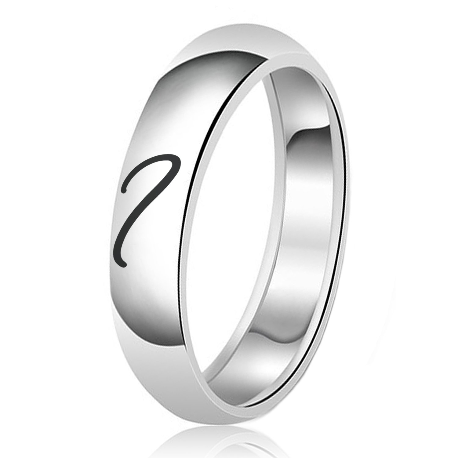 His & Her Heart Engraved Classic Couple Set Sterling Silver Plain Wedding Band Ring
