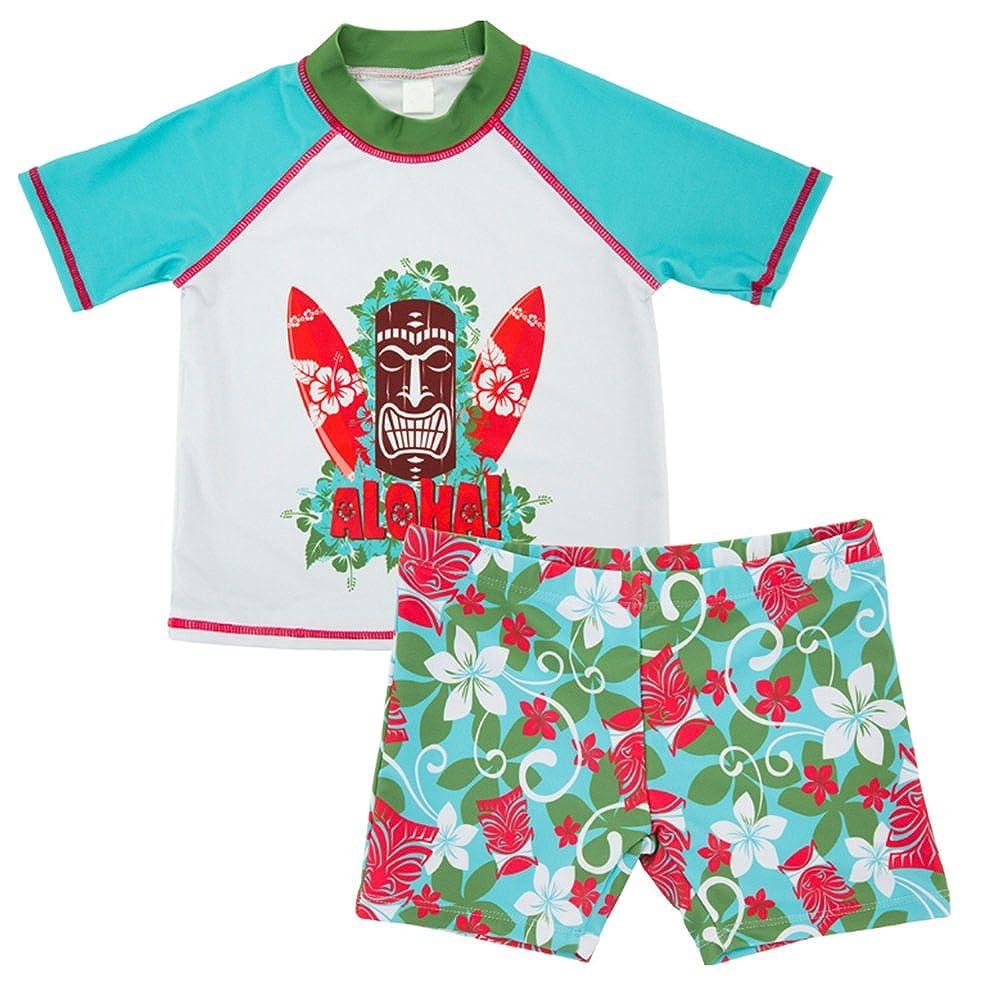 Maillot de bain pour enfants de protection solaire Boy Surf 2 pièces maillot de bain manches courtes + maillot de bain impression bébé