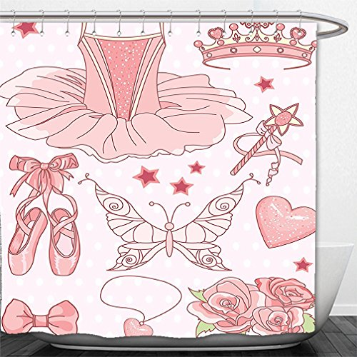 [Interestlee Shower Curtain Teen Girls Decor Collection Set of Princess Ballerina Accessories Classic Costume Shoes Tiara Roses Image Pattern Pink] (Killer Ballerina Costume)