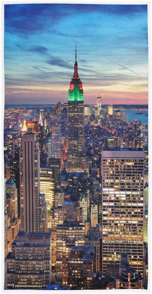 Mnsruu Serviette de Bain New York Cityscape Night Soft Bath H/ôtel Spa Hand Gym Sport Towel 76 x 38 cm