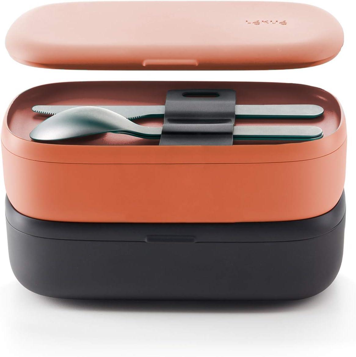 Lékué - Pack Recipiente hermético para Alimentos (Lunchbox to go) + Juego de Cubiertos para Llevar