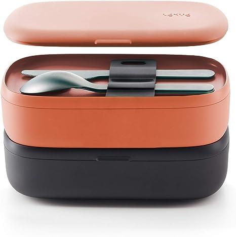 Lékué - Pack Recipiente hermético para Alimentos (Lunchbox to go) + Juego de Cubiertos para Llevar: Amazon.es: Hogar