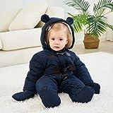 TeenMiro Baby Winter Jumpsuit Newborn Fleece Romper Infant Snowsuit Pattern Deep Blue