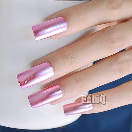 echiq 20pcs placa de metal Fashion rosa uñas postizas reflectante espejo estilo punk metálico largo cuadrado