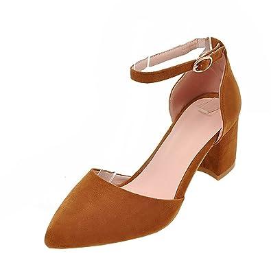 Agodor Damen Blockabsatz Riemchen Sandalen mit Schnalle und Spitze High Heels Pumps Elegant Schuhe
