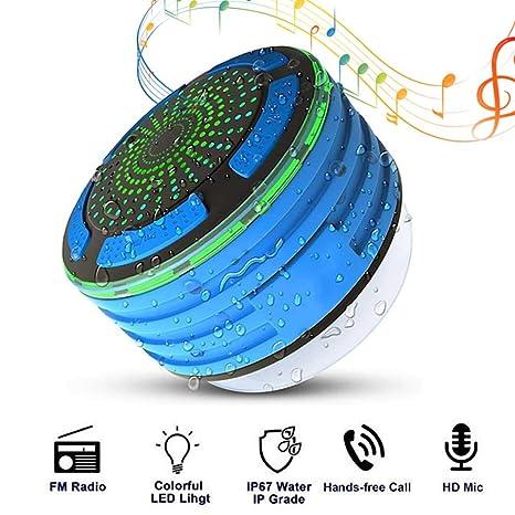 leegoal Ducha de bluetoth Altavoz, Altavoz inalámbrico portátil Resistente al Agua IPX7 con Ventosa Radio