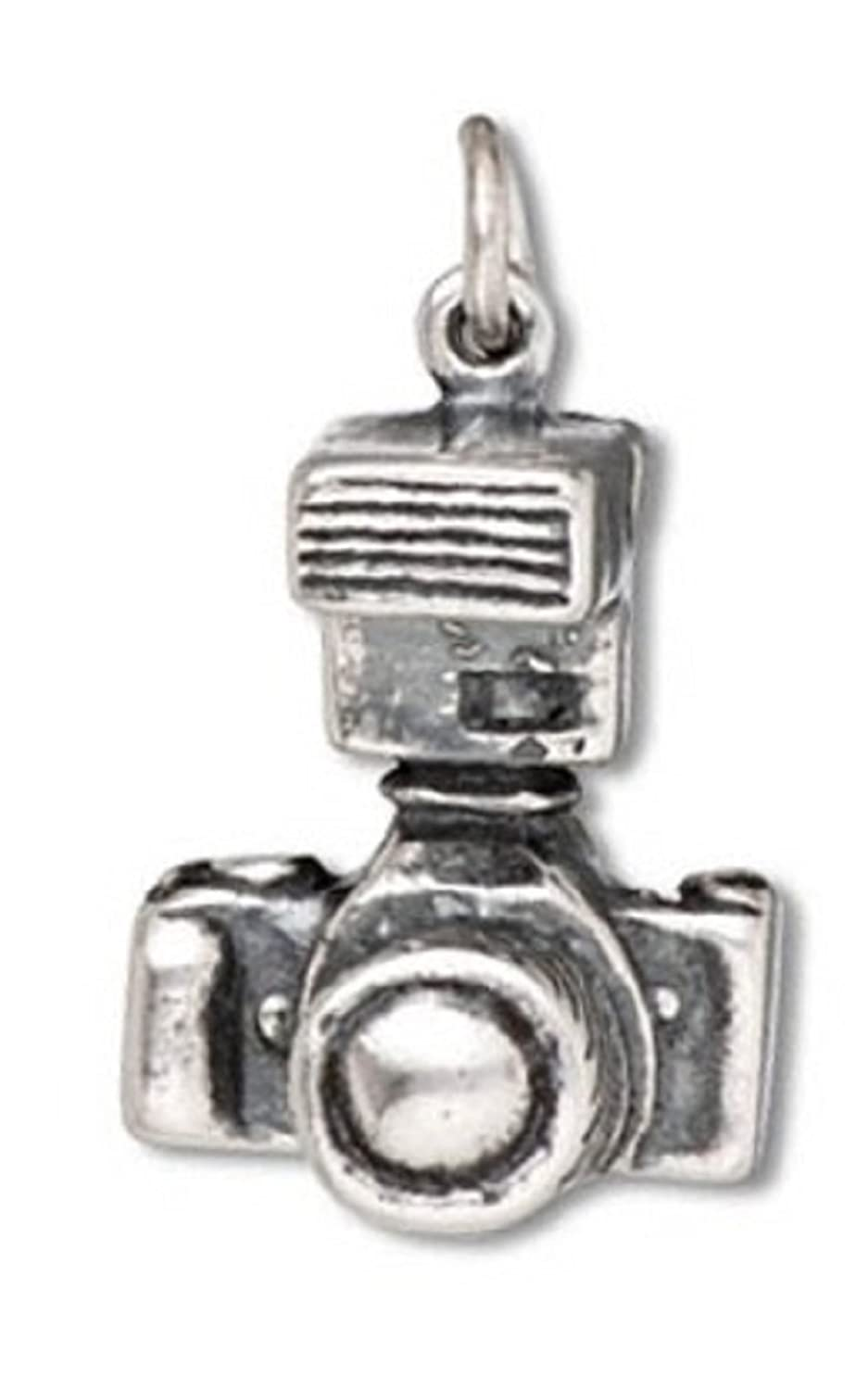 Sterling Silver Girls .8mm Box Chain 3D Extender Lens Speed Flash DSLR Camera Pendant Necklace