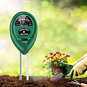 Soil pH Meter, 3-in-1 High Accuracy Soil Moisture/Light/pH Tester Gardening Tool for Garden, Farm, Lawn, Indoor & Outdoor Use, Soil Moisture Meter
