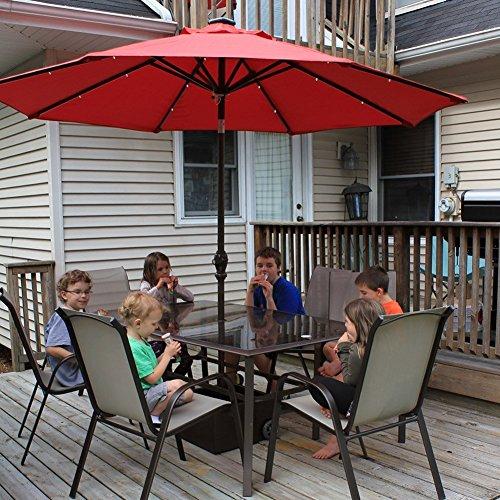 Abba Patio 9' Round Aluminum Solar Powered 24 LED Light Patio Umbrella with Tilt and Crank, Dark Red (Umbrella Led)