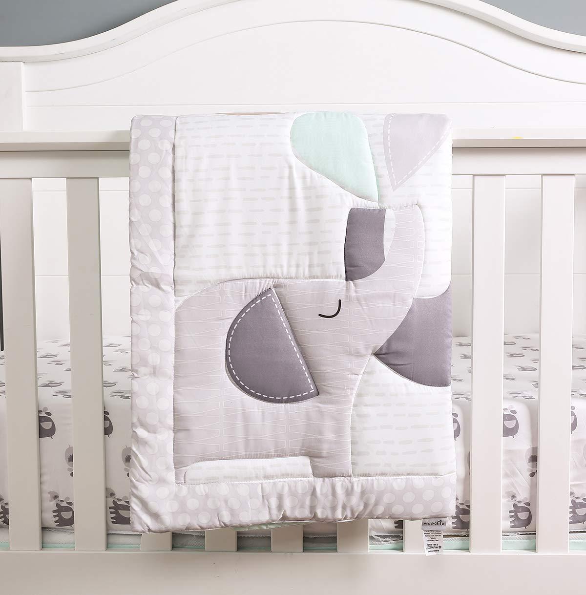HUPO Cute Dinosaur Yellow//Blue 7-Piece Baby Boy Nursery Crib Bedding Set
