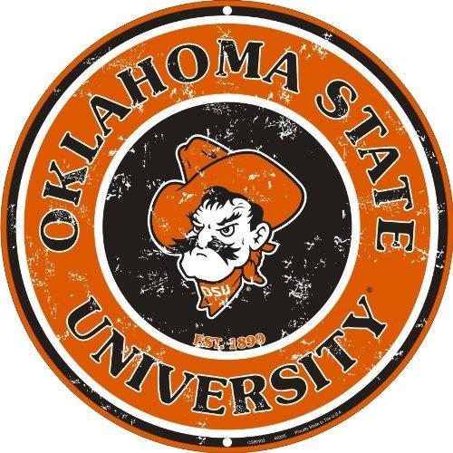 Oklahoma State Cowboys 12 Inch Embossed Metal Nostalgia Circular Sign