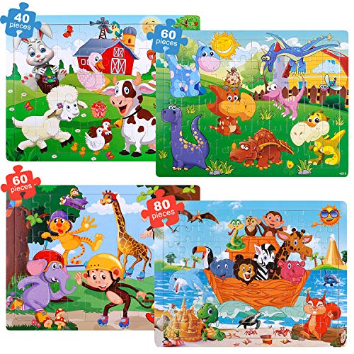 GINMIC Puzzles for Kids Ages 4-8, 4 Pack Colorful Wooden Jigsaw Kids Puzzles 40-80 Pieces