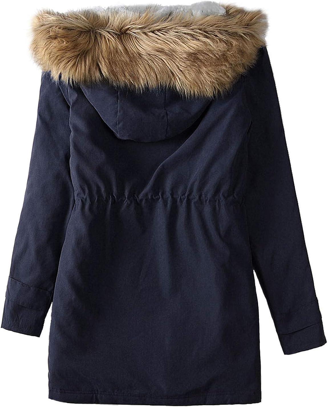 D.B.M Womens Slim Thick Warmth Drawstring Zipper Hooded Fur Collar Coat
