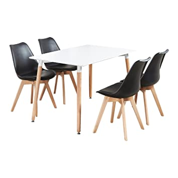P & N Homewares® Table de Salle à Manger Lorenzo et 4 chaises Ensemble  récent et Moderne de Cuisine scandinave Chaises Blanches Noires et Grises  avec ...