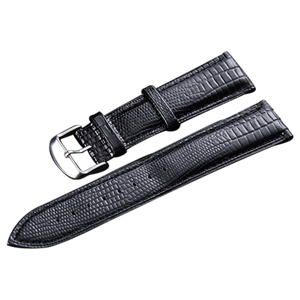 64003faea SIFEIRUI-Quality Genuine Lizard-Embossed Leather Watch Band 2 Piece Black Watch  Strap Quick Release 12mm: Amazon.co.uk: Watches