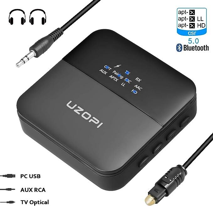 UZOPI Receptor Transmisor Bluetooth 5.0 2 en 1, Adaptador Óptico de Audio 65 Pies de Largo Alcance Inalámbrico AaptX de Baja Latencia HD para TV PC Sistema de Estéreo para Automóvil para
