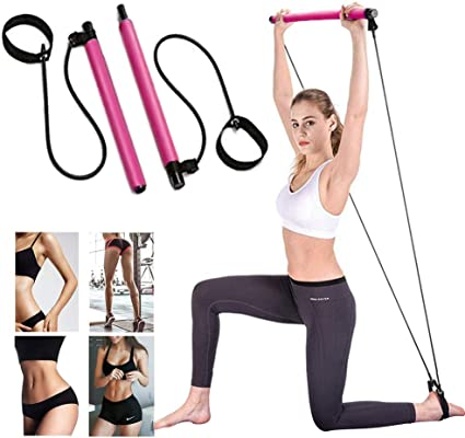 Pilates Resistance Band Yoga Exercise Bar Portable Yoga with Anti-Slip Foot Loop