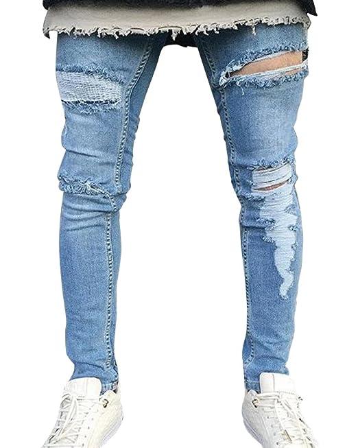 Kasen Hombre Transpirable Súper Skinny Fit Pantalones ...