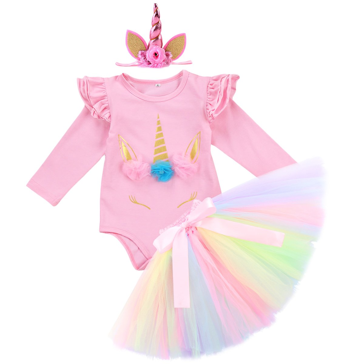 IWEMEK Baby Girls 1st 2nd Birthday Cake Smash Photo Shoot 3pcs Outfits Newborn Infant Princess Halloween Unicorn Costumes Romper Colorful Tutu Skirt Horn