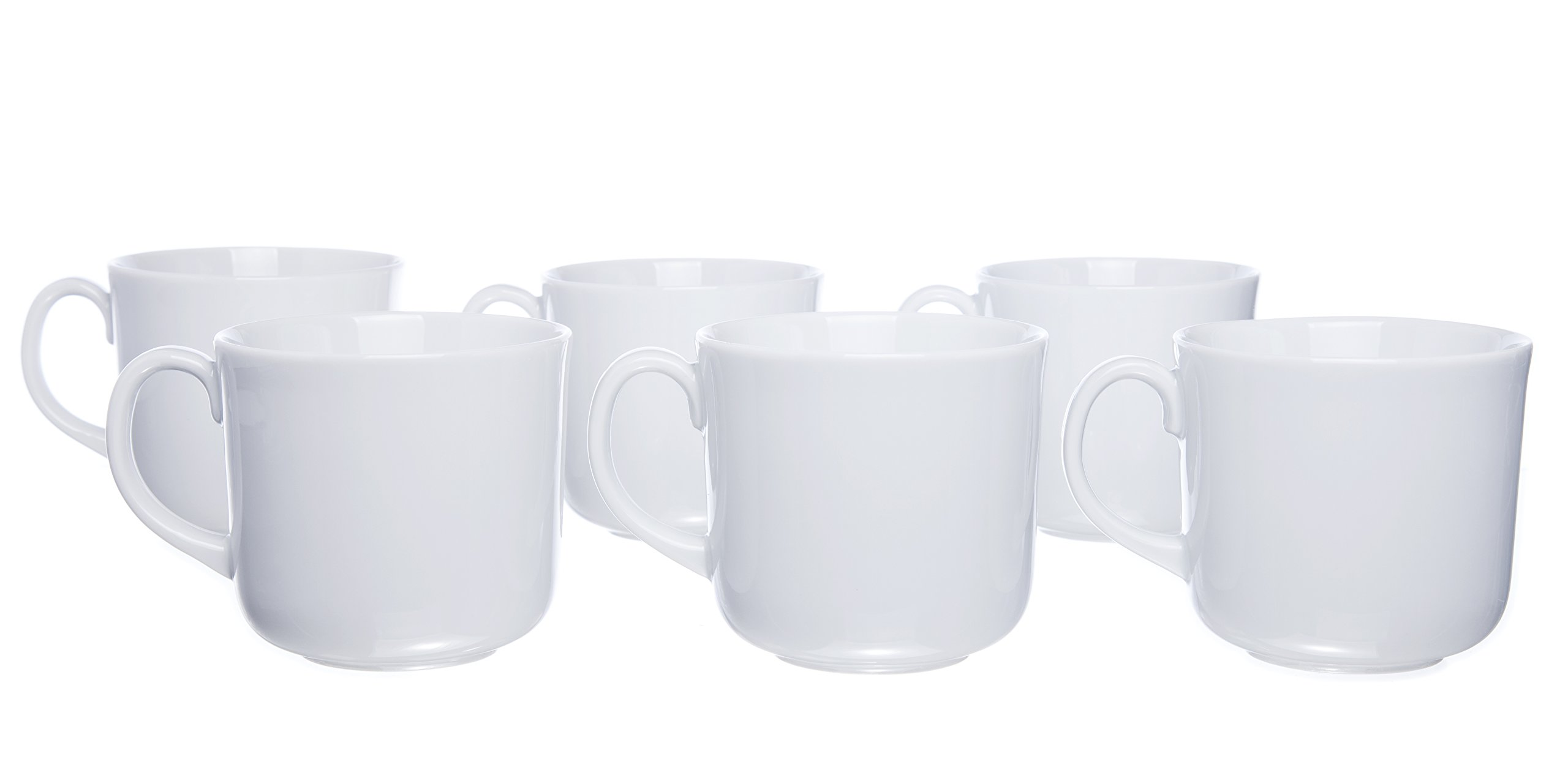 6-Piece Tea/Coffee MUGS with Handle, White Porcelain, Restaurant&Hotel Quality, 11.7 Oz