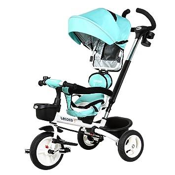 Triciclo para niños, 1-3 años de edad, doble bicicleta, bicicleta para bebé Carrito de bebé carro de bebé (Color : Azul) : Amazon.es: Deportes y aire libre