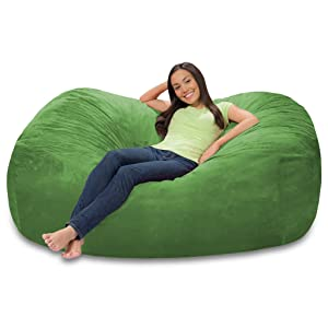 Comfy Sacks 6 ft Lounger Memory Foam Bean Bag Chair, Black Furry