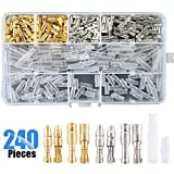 Glarks 240Pcs 3.9mm Brass Male and Female Bullet Terminals Wire Connector Block with Insulating Sleeves for Car Truck Motorcycle Bike
