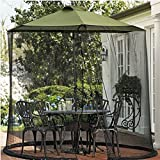 Mr Garden Umbrella Mosquito Patio Table Screen and net, 9' W x 7.2' H (Black)