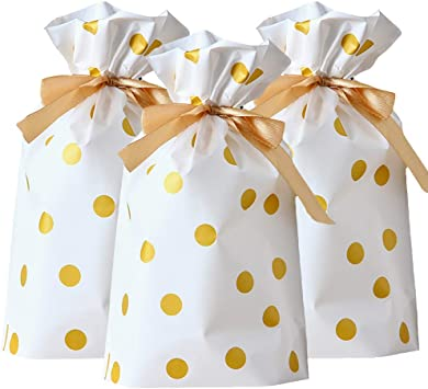 50Pcs Cookie Bags Gold Polka Dots Plastic Treat Bag Party Candy//Snack Wrapping