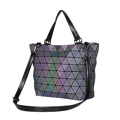 2fa981b67e4f Amazon.com  Handbags Women Famous Brands Big Women Crossbody Bag Trunk Tote Designer  Shoulder Bags BagLaser Geometry Bag Pu Leather Bags (noctilucence 1)  ...