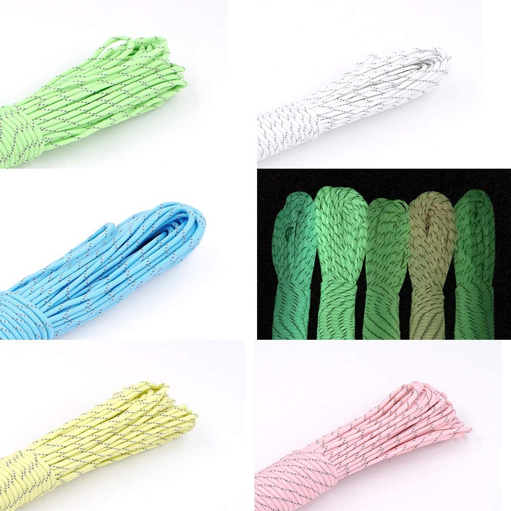 Fluorescent Green Sohapy 100 ft Reflective Tent Rope Camping Cord Paracord Reflective Nylon Cord Parachute Cord Diameter 4mm Rope for Camping Tent Outdoor Packaging