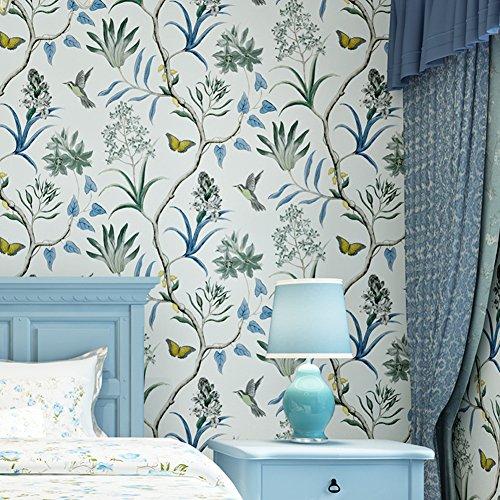 LianLe Flowers Birds Butterflies Wallpaper Floral Wall Sticker Wall Decal for Home Decoration,B ()