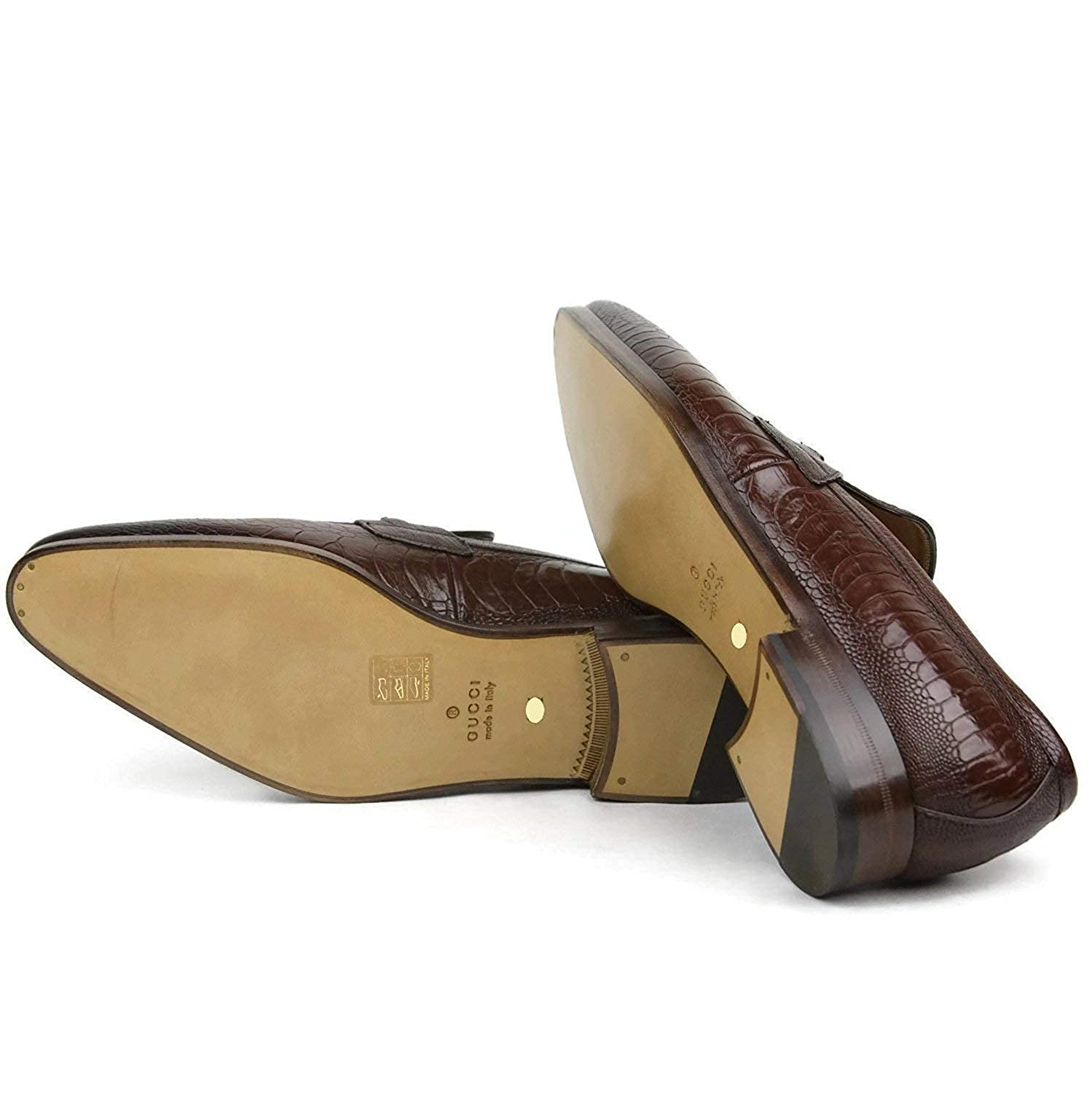 Gucci Brown bocado uña Avestruz Mocasines 353016 ED300 2218 U.S. 10.5: Amazon.es: Zapatos y complementos