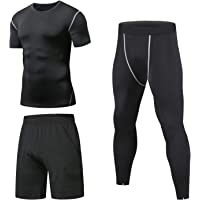 Niksa 3 Piezas Conjunto de Compresion Hombre, Camisetas Compression Mallas Running Pantalon Corto Deporte Ropa Deportiva…