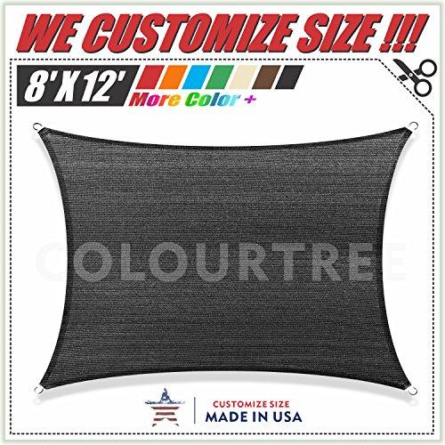ColourTree Black Sun Shade Sail Rectangle Canopy, UV Resistant Heavy Duty Commercial Grade Custom Size, 8' x 12