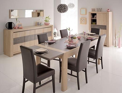 Comedor alemana 7 roble aspecto de piedra mesa extensible madera ...