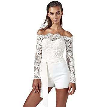 4a44824419 Amazon.com   Fheaven Womens Off Shoulder Lace Long Sleeve Playsuit Romper  Shorts Jumpsuit Trousers (M