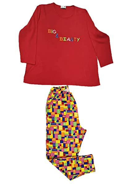 Pijama Manga Larga Rojo Bordado Big&Beauty y pantalón Estampado. Tallas Grandes. Mabel Big&Beauty.