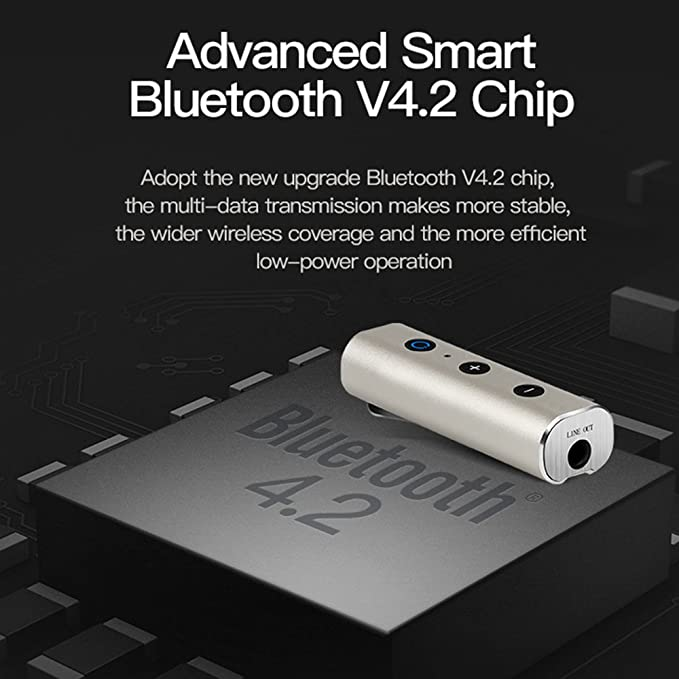 Sedeta Receptor de audio inalámbrico del bluetooth del coche casero de la oficina receptores de música estéreo con conector jack de 3,5 mm Adaptador de kit ...