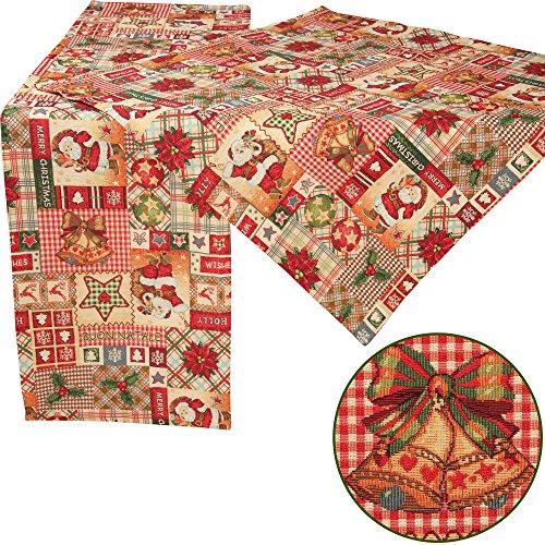 quinnyshop motivos patchwork-design de Navidad en Gobelin Camino de mesa Mantel Mesa Overlay diferentes tamaños, color rojo,...