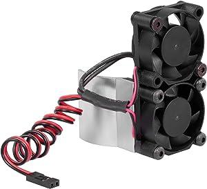 GoolRC RC Car Motor Heatsink 550 540 Motor Double Cooling Fans with Thermal Sensor CNC Aluminum Alloy Heatsink for Traxxas Hsp Tamiya Axial SCX10 D90 HPI Car (Silver)