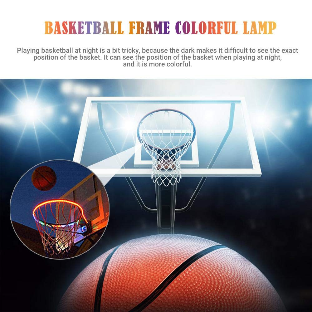 Waterproof Super-Bright LED Light Swish Sensing Action for Playing at Night Outdoors Volwco Basketball Hoop Lights Colorful LED Solar Power Basketball Rim Night Light