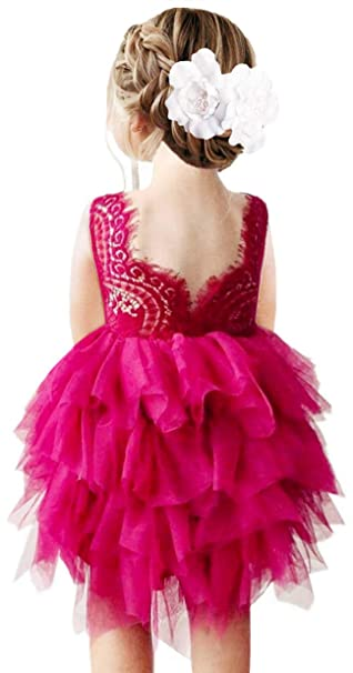 2bunnies Girl Beaded Peony Lace Back A Line Tiered Tutu Tulle Flower Girl Dress