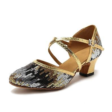 ee02961a5 HIPPOSEUS Latin Dance Shoes for Women Salsa Performance Dancing Shoes Low  Heel 5cm,Gold,