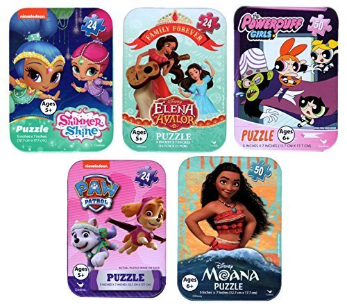 5 Collectible Puzzles Tins for Girls Ages 5+ 6+ Disney Princess Moana Shimmer and Shine Elena Avalor PowerPuff Girls Puppy Patrol Gift Set ()
