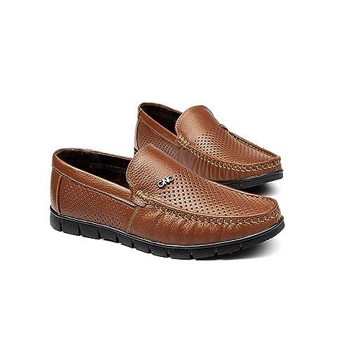 Zapatos de Cuero para Hombres Negocio Confort Transpirable Casual Mocasines Planos ahuecados Sandalias de Verano Zapatos
