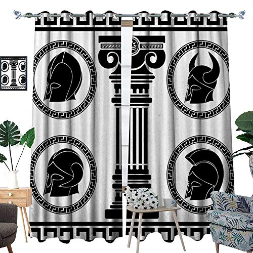 (homehot Toga Party Room Darkening Wide Curtains Patterned Circular Frames with Antique Accessories Spartan Classic Costume Decor Curtains by Black and)