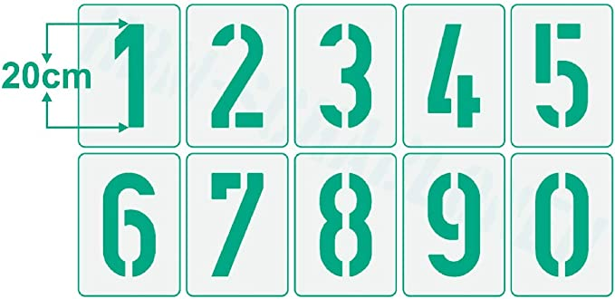 10 pochoirs individuels Pochoir /à chiffres n/° 35-1 jeu de chiffres 0-9 Pochoir mural