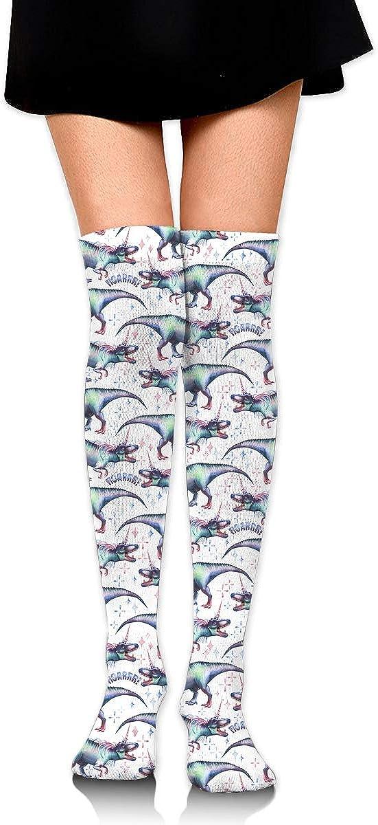 Womens//Girls Pastel Colored Roaring Dinosaurs Casual Socks Yoga Socks Over The Knee High Socks 23.6